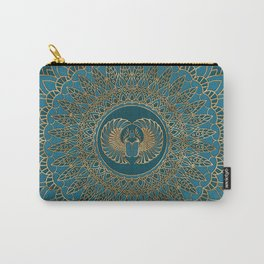 Egyptian Scarab Beetle Gold on Teal Leather Carry-All Pouch