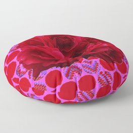 CLUSTER OF RED ROSES ON  RED-VIOLET ABSTRACT Floor Pillow