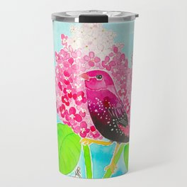 Strawberry Finch & Hydrangeas Travel Mug