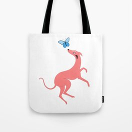 Pink Whippet Tote Bag