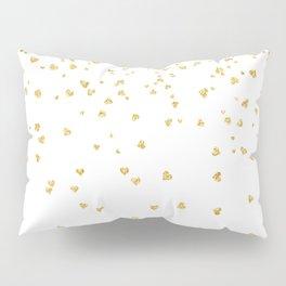 Falling hearts gold glitter confetti - Heart Love Valentine Pillow Sham
