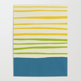 Playing with Strings - Line Art - Blue, Green, Yellow Poster
