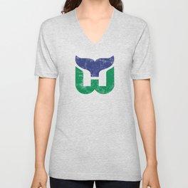 Hartford Whalers Distressed Logo - Defunct Hockey Team - New England & Massachusetts Sports Heritage  Unisex V-Neck