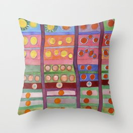 Colorful Grid Pattern with Numerous Circles Throw Pillow