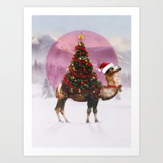 Santa Camel Art Print