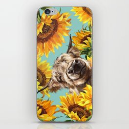 Highland Cow with Sunflowers in Blue iPhone Skin