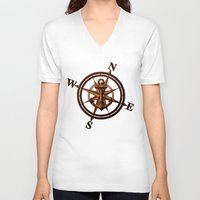 wooden V-neck T-shirts featuring Wooden Anchor by Nicklas Gustafsson