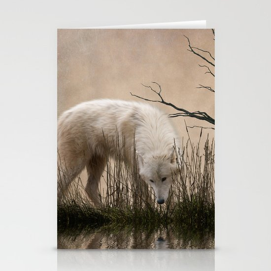 Woodland wolf reflected Stationery Cards