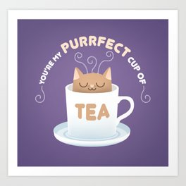 You're my Purrfect Cup of Tea Cat Art Print