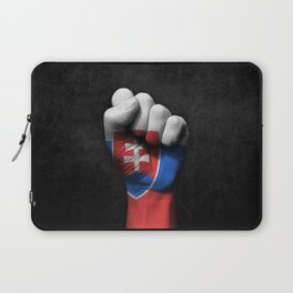 Slovakian Flag on a Raised Clenched Fist Laptop Sleeve