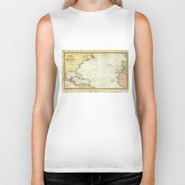 Vintage Christopher Columbus Voyage Map (1828) Biker Tank