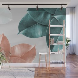 Blush ficus leaves Art print Wall Mural