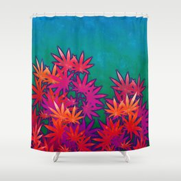 Turquoise Cannabis Field Shower Curtain