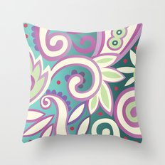 Summer leaves, soft pastels Throw Pillow
