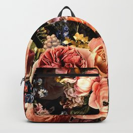 Vintage & Shabby Chic- Real Peach Roses And Peonies Lush Midnight Flowers Botanical Garden Backpack