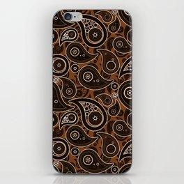 Chocolate Brown Paisley Pattern iPhone Skin