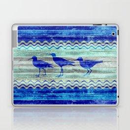 Rustic Navy Blue Coastal Decor Sandpipers Laptop & iPad Skin