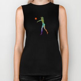 Woman beach volley ball player 02 in watercolor Biker Tank