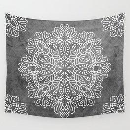 Mandala Vintage White on Ocean Fog Gray Wall Tapestry
