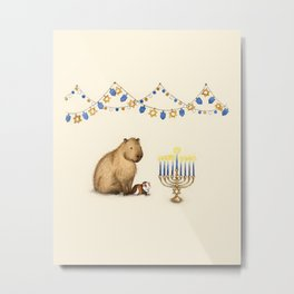 Capy Hanukkah - Capybara and Menorah Metal Print