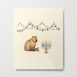 Capy Hanukkah - Capybara and Menorah Metal Print