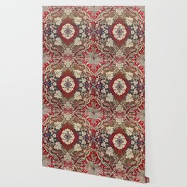 Botanical Embroidery III // Flowery Colorful Red Blue Green Yellow Tan Ornate Accent Rug Pattern Wallpaper