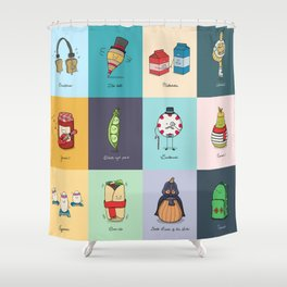 Punny Doodle Collection Shower Curtain
