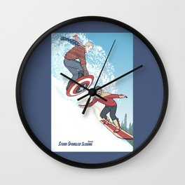 Stark Spangled Sledding (Recipe for a Concussion) Wall Clock