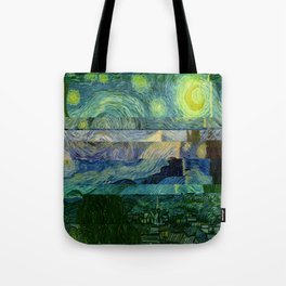 Starry Night Glitch Tote Bag