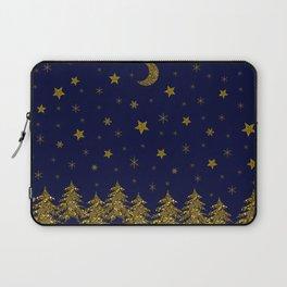 Sparkly Christmas tree, moon, stars Laptop Sleeve