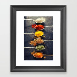 Colorful spices in metal spoons Framed Art Print