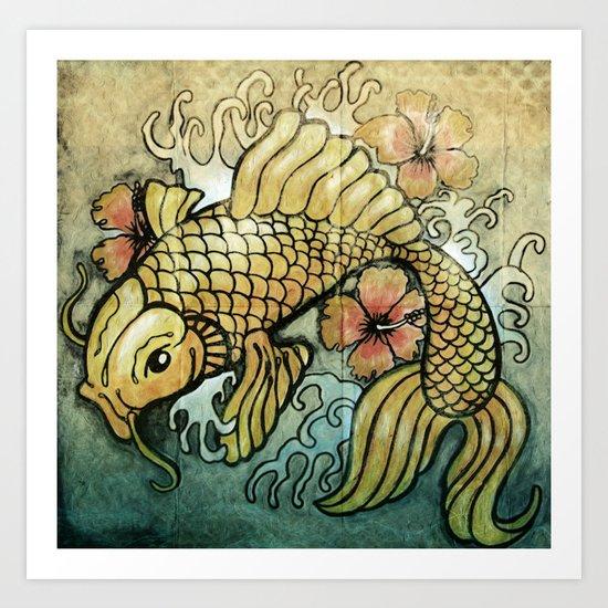 Koi Fish and Hibiscus  Art Print
