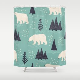 Polar Bears and Christmas Trees Shower Curtain