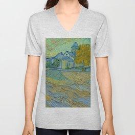 """Vincent van Gogh """"Vue de l'asile et de la Chapelle de Saint-Rémy"""" Unisex V-Neck"""