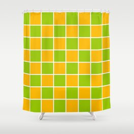 Lime Green & Golden Yellow Chex 1 Shower Curtain