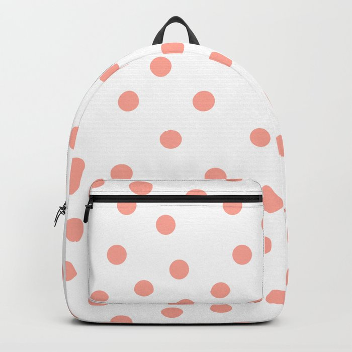 Simply Dots in Salmon Pink on White Backpack