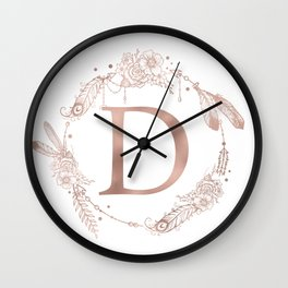 Letter D Rose Gold Pink Initial Monogram Wall Clock