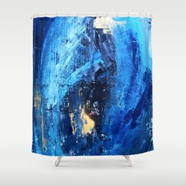 Vortex: a vibrant, blue and gold abstract mixed-media piece Shower Curtain