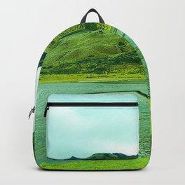 mountains, lake, lagoon, green, grass Backpack