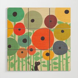 Cat in flower garden Wood Wall Art