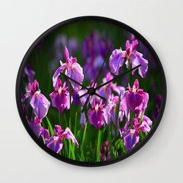 LILAC IRIS GREEN GARDEN  FLOWERS FLORAL Wall Clock