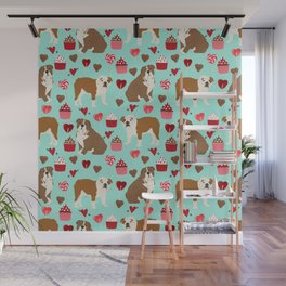 English Bulldog valentines day dog breeds gifts for dog lovers custom pet portraits Wall Mural