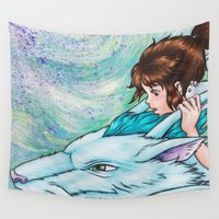 spirited away Wall Tapestries featuring Spirited Away by Kimberly Castello