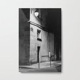 Paris at night | Black and white travel print of the streets of Marais, Paris | Travel Photography  Metal Print