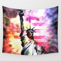 patriotic Wall Tapestries featuring Patriotic Lady of Liberty by politics