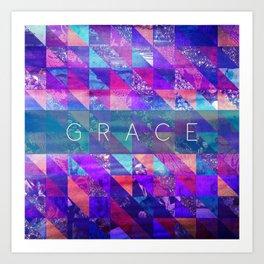 "2 Corinthians 12:9 ""Grace"" (purple triangles) Art Print"