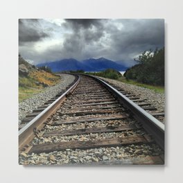 Train Tracks, Beluga Bay, Alaska Metal Print