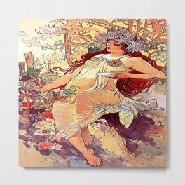 Alphonse Mucha (1860-1939) - AUTUMN - The SEASONS (series) - Date: 1896 - Style: Art Nouveau (Modern) - Genre: Allegorical painting - Vintage - Digitally Enhanced Version (1500dpi) - Metal Print