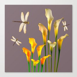 GOLD CALLA LILIES & DRAGONFLIES ON GREY Canvas Print