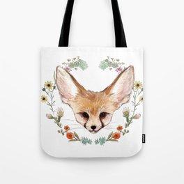 Fennec Fox Cub in Desert Wreath Tote Bag